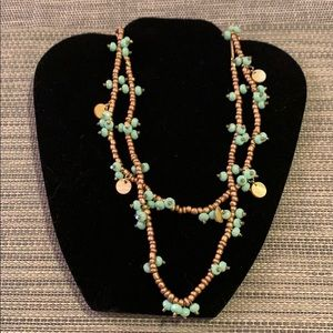 Anthropologie two strand gold and blue necklace